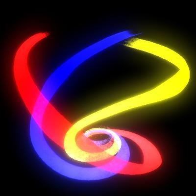 3d spirals trio colored model