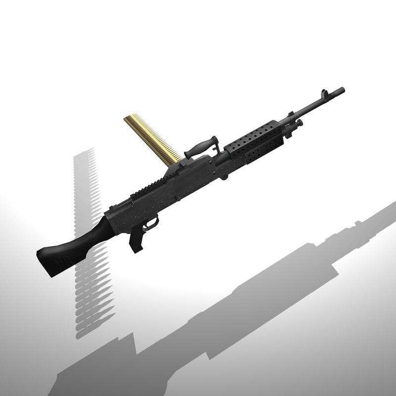 3d m240 machine gun bullet model