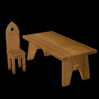 3ds max medieval table chair