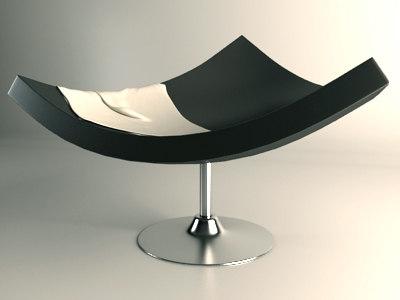 plastic designer chair 3d max