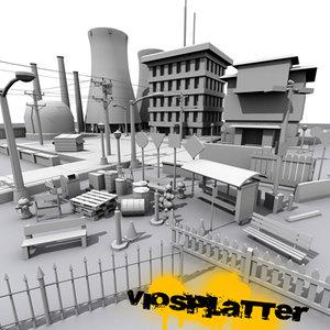 nuclear power street 3d model