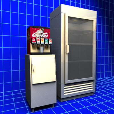 soda fountain refrigerator 01 3d model