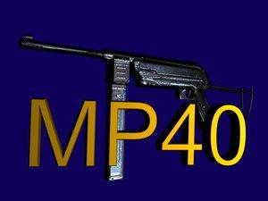 mp40 submachine gun 3d max