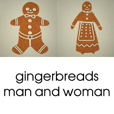3d gingerbreads man woman model