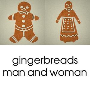 3d gingerbreads man woman model