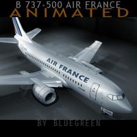 3d max 737-500 plane air france