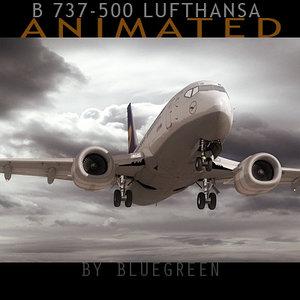 3d 737-500 lufthansa model