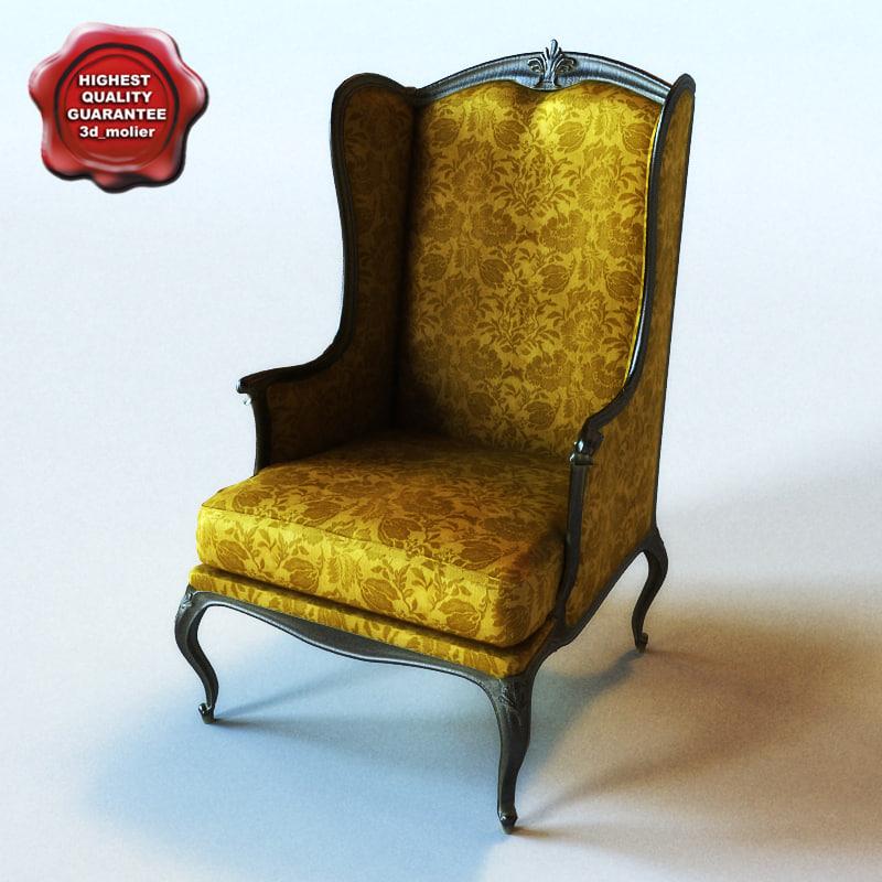 armchair classic interior 3ds
