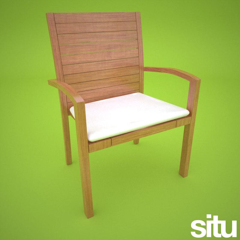 teak dining chair 3ds