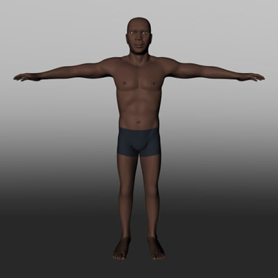 middle male black 3d model