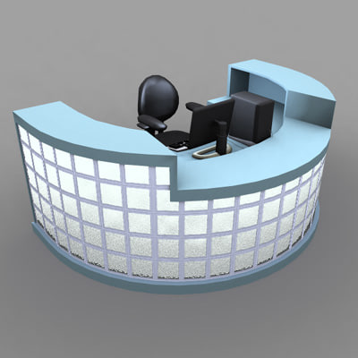 3d reception desk lobby