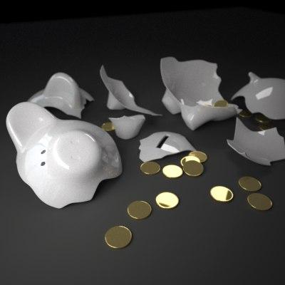 c4d piggy bank coin