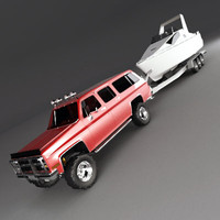 suv boat trailer motorboat 3d model