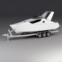 Boat Trailer with Motorboat