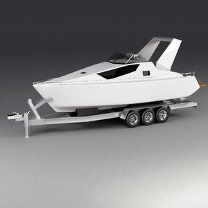3d boat motor trailer