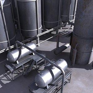 3d model oil refinery destiller