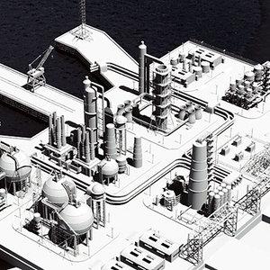 3d industrial harbour ship model