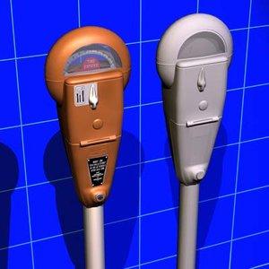 3d parking meter vintage 01 model