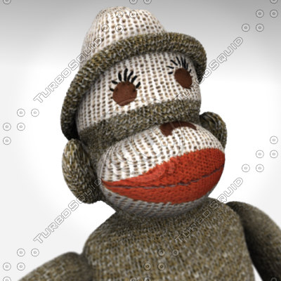 3d obj sock monkey