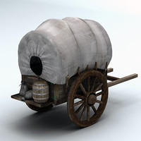 3d model wooden wagon wood