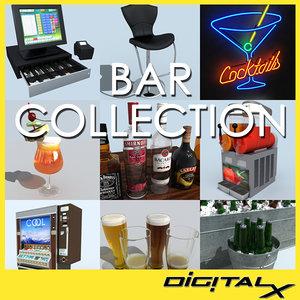 bar beer bottles 3d model