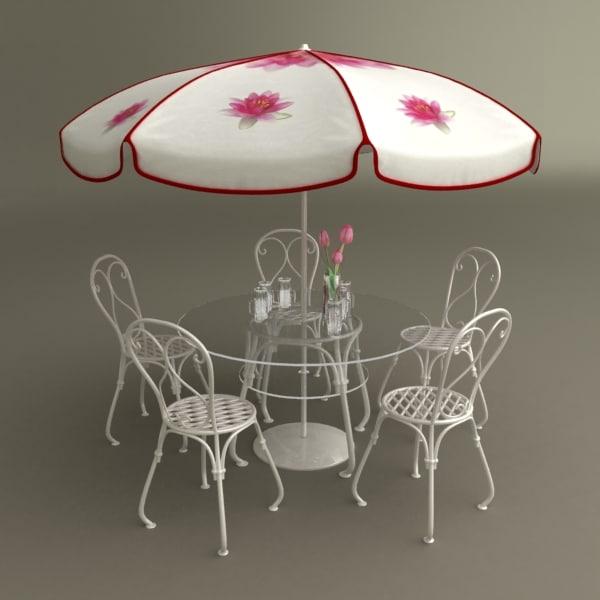 table umbrella beer cups 3d max