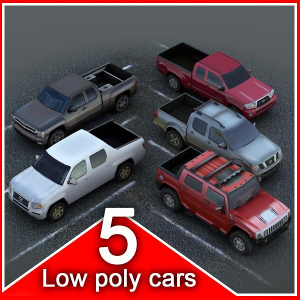 5 cars vehicles 3d model