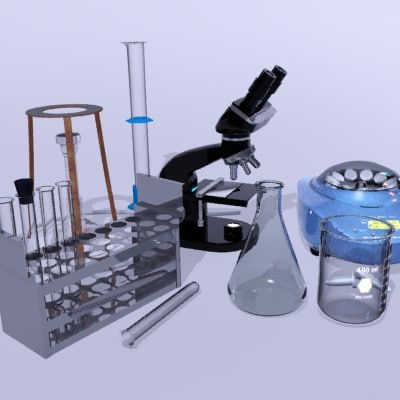 science lab equipment microscope 3d model