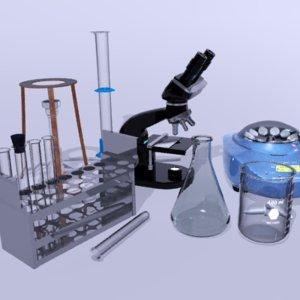 science lab equipment microscope 3d model