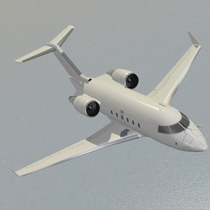 3d model canadair challenger 601 white