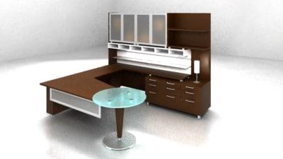 executive glass desk jofco 3d model