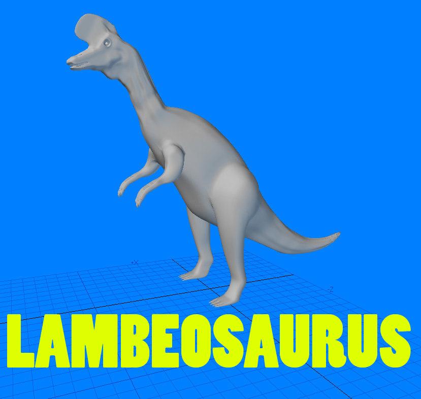 3d lambeosaurus dinosaur