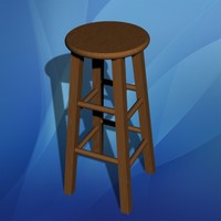 3d wooden bar stool wood model