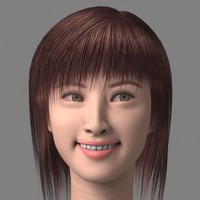 3d model asian smile head girl