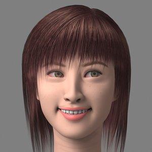 3d model asian smile head girl