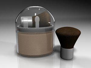 professional powder set brushes 3d model