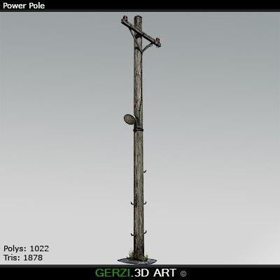 3d power pole model