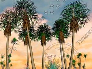 palm trees tropical island 3d model