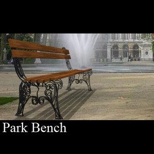 3d park bench wooden chair model
