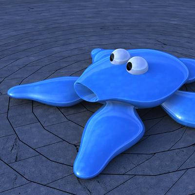 3d 3ds starfish blue