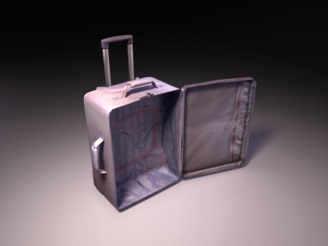 3d lilac suitcase model