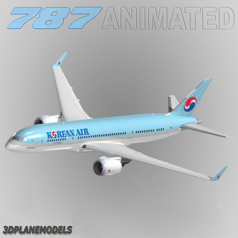 3d model b787-3 korean air