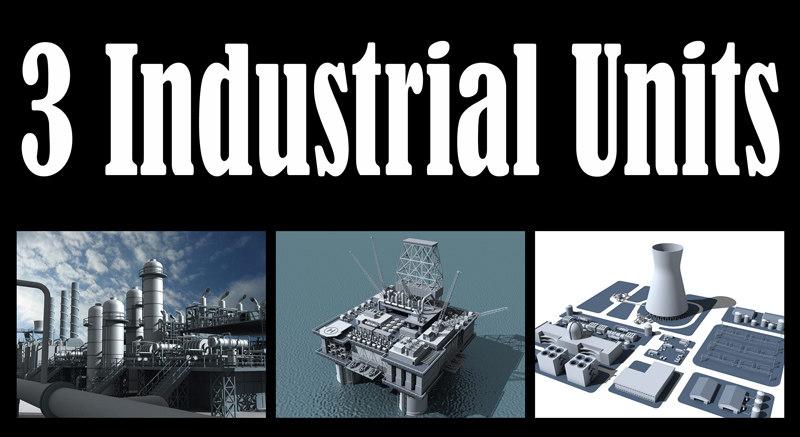 3d model 3 industrial units refinery