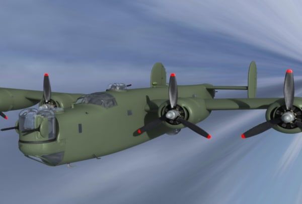 3d b24 liberator b-24 bomber model