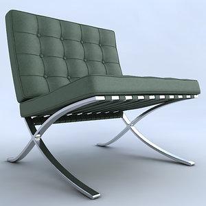 barcelona chair stool 3d model