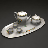 set teapots cup tea 3ds free