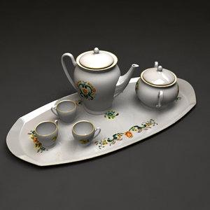 set teapots cup tea 3ds free