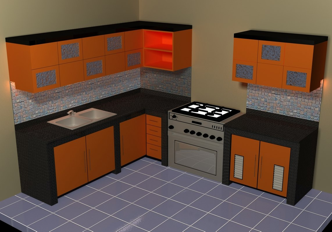 Small kitchen set 3d model for Model model kitchen set