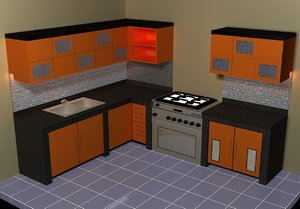 small kitchen set 3d model