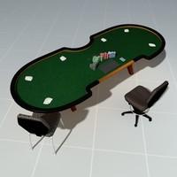 3d poker table casino model